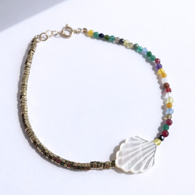 K10YG Mother of Pearl x Pyrite x Multi Jade Bracelet / チャリティージュエリー