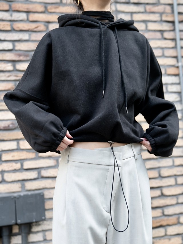 【WOMENS】CROPPED GATHER HOODIE / 5colors