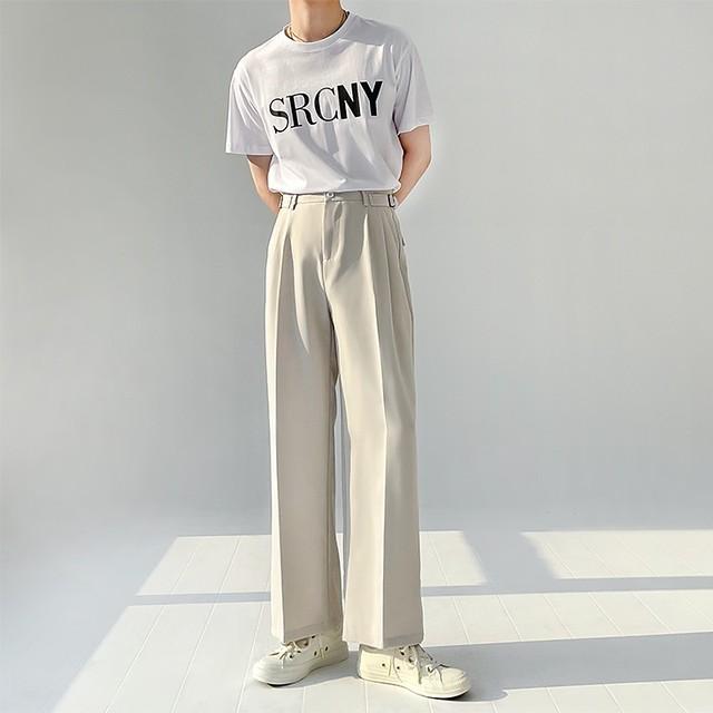 Side buckle straight pants   b-408