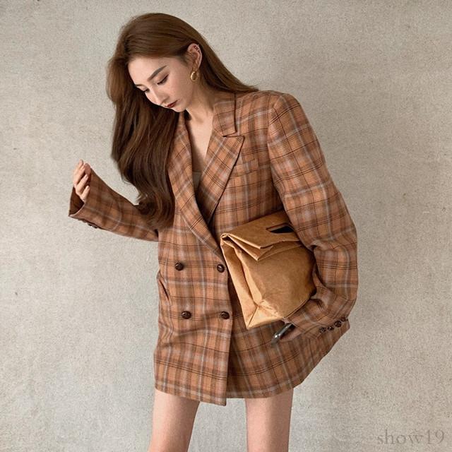 【アウター】韓国系合わせやすいチェック柄今すぐ欲しい長袖上質感 ゆったりスーツジャケット33902561
