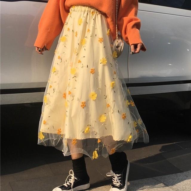 ファッション可愛い花柄レース薄手スカート<ins-1629>}