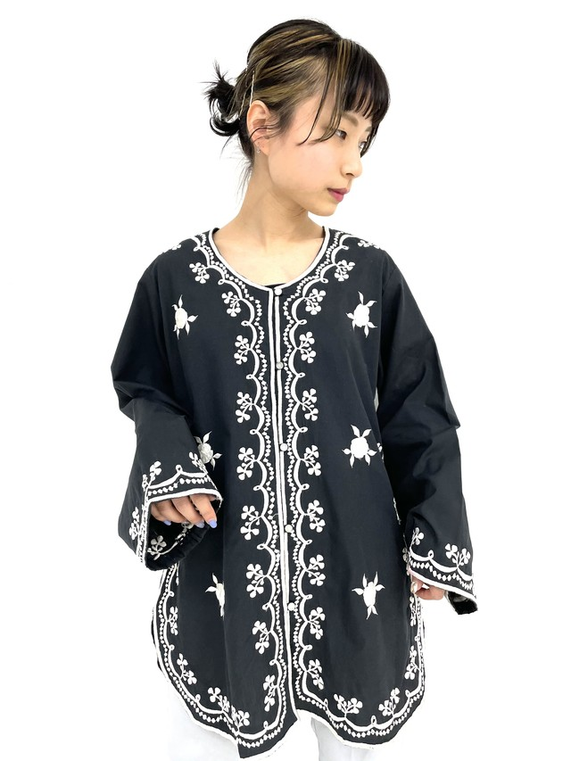 embroidery ethnic shirt / 3SSTP07-01