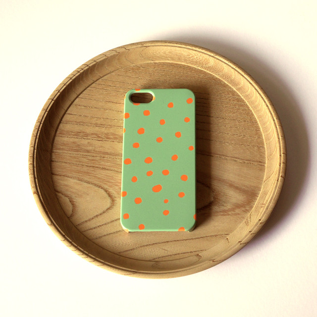 ハード型スマホケース fuwa fuwa dot ( mos green & orange ) 【iPhone/Android 各機種対応】