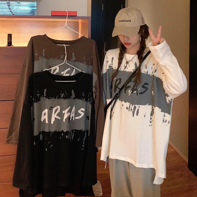 長袖 Tシャツ 前後で丈違い 両側スリット韓国ファッション レディース ロングTシャツ ロンt トップス ゆったり カットソー 大人可愛い ガーリー / Loose top in tide t shirt women (DTC-626527399174)