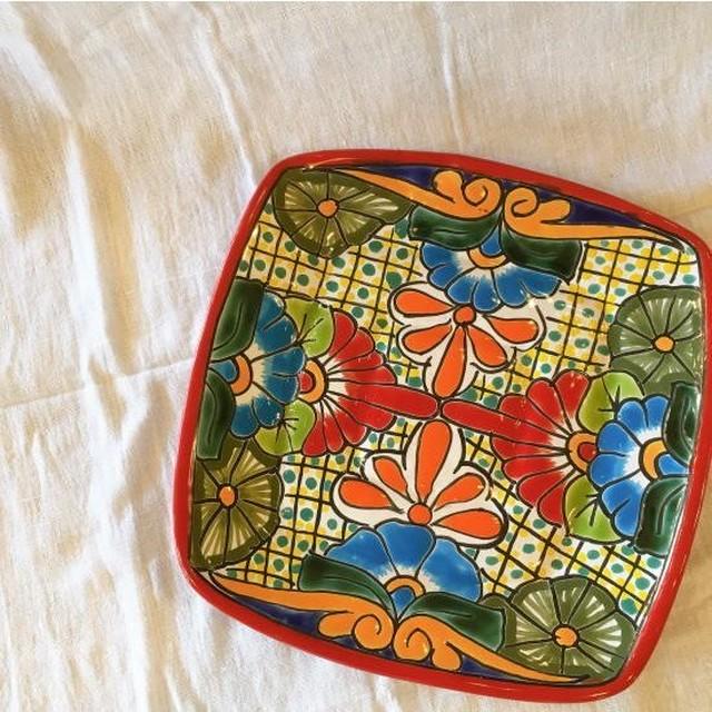 メキシコ グアナファト焼の四角プレート レッドG