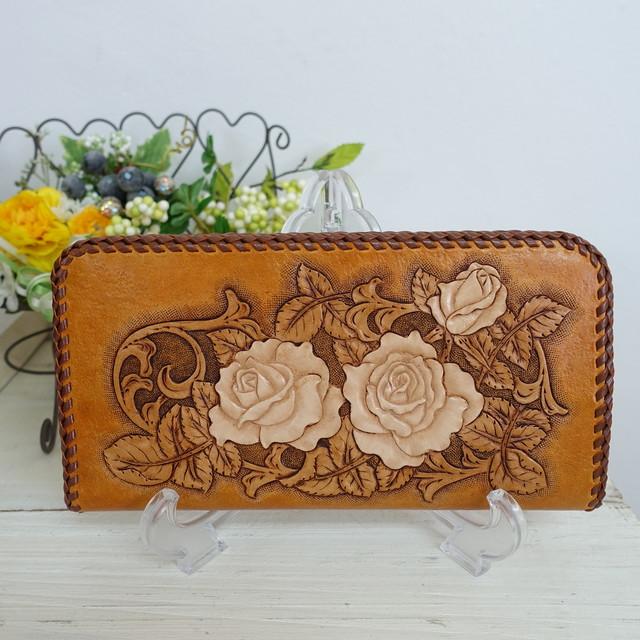 SALE! レザーカービングの唐草とお花の長財布/オープンタイプ(送料無料)