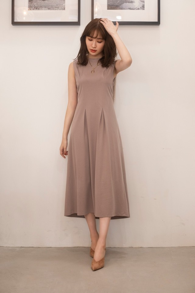 Two-Tone Belted Jersey Dress