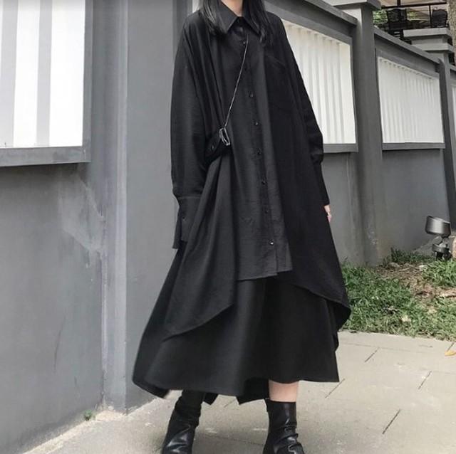 長袖シャツ&ハイウエストスカート セット
