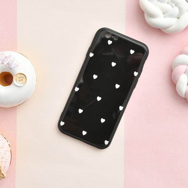 【iPhone 11シリーズ対応】モノトーンハートモチーフデザイン ブラックホワイト(SPCa0272BK)iPhoneケース/スマホケース