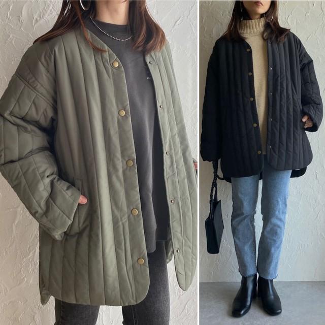 ◆即納◆縦キルティングノーカラー  ミディアム丈  コート  2S-147