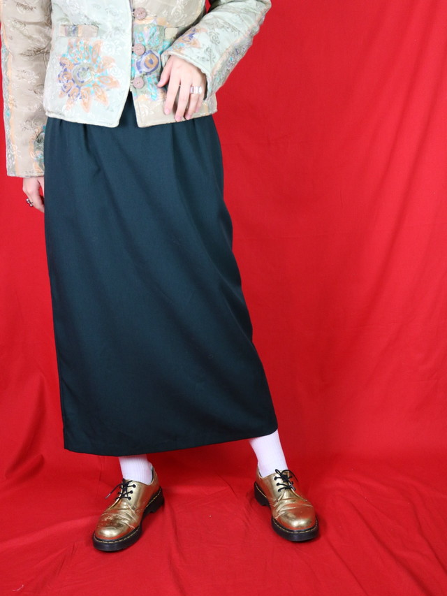 long tuck skirt green 【0594】