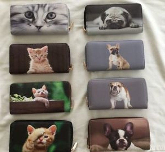 【送料無料】ネコブルドッグパグアニマルプリントziplarge animal print purse organiser zip around kitten bulldog pug cat dog puppy