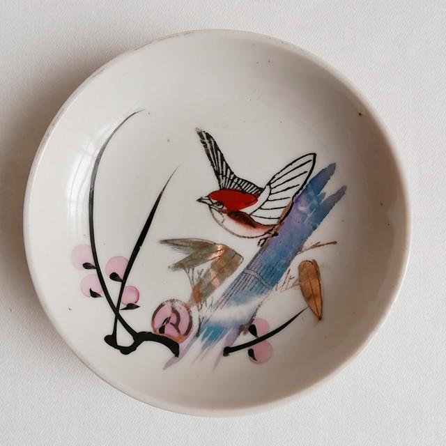 雀と桜の木 金彩絵付け小皿 【大正〜昭和初期】