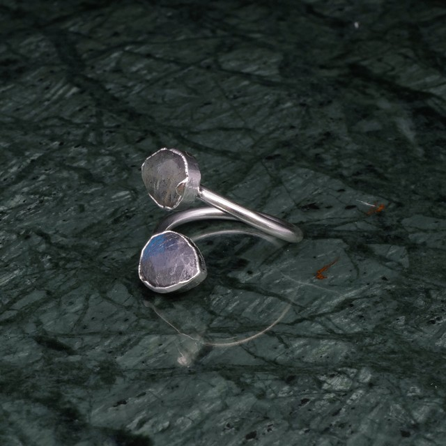 DOUBLE STONE OPEN RING SILVER