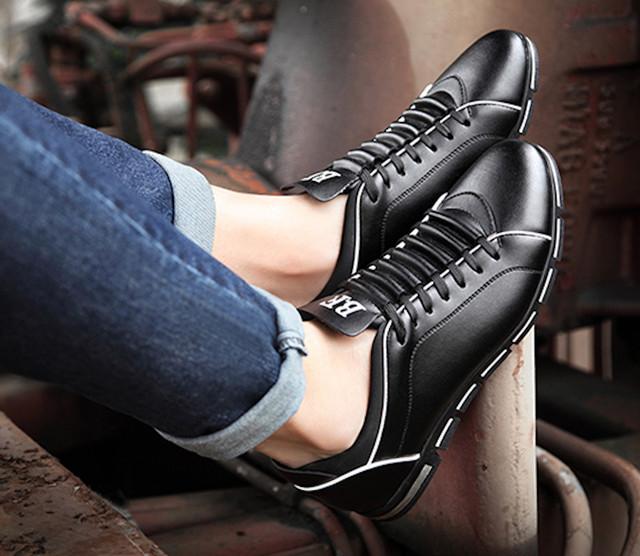 スニーカー レザー 革 ウォーキングシューズ メンズ カジュアルシューズ 革靴 軽量shs-525