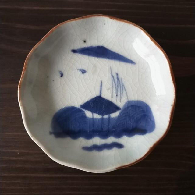 染付 楼閣山水 豆皿【明治頃】少々難