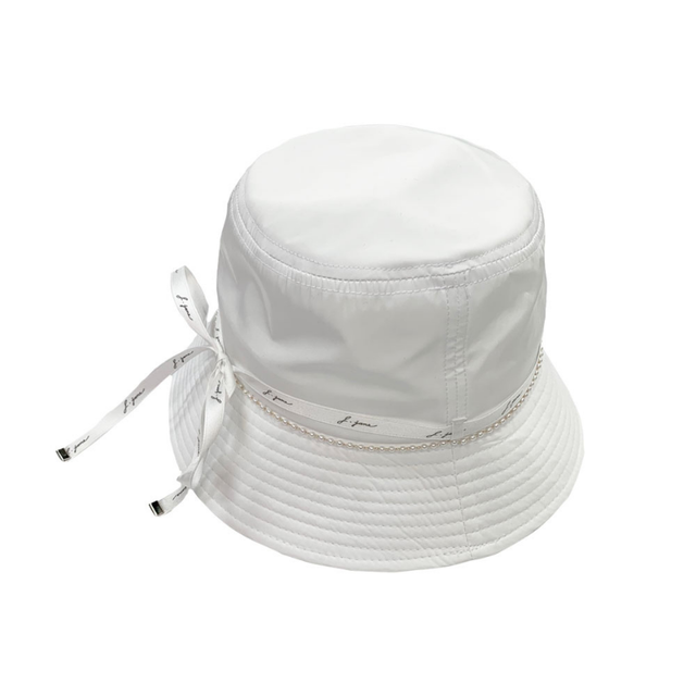 Ribbon pearl bucket hat  (White)