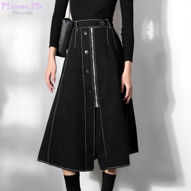 フロントボタンチャックステッチデザインブラックスカート