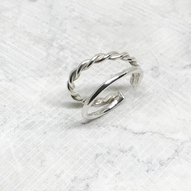 Silver Ear Cuff_double hoops