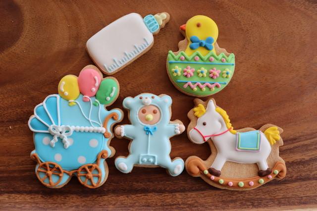 ベイビーBOX ブルー 【名入れオプション有】アイシングクッキー