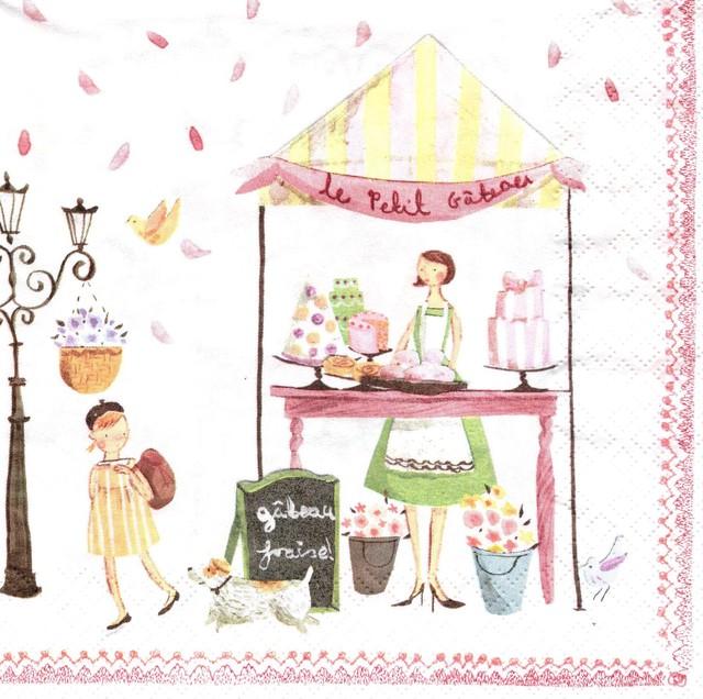 入荷しました 完売再入荷【Aimez le style】バラ売り1枚 ランチサイズ ペーパーナプキン サンデーマーケット ホワイト
