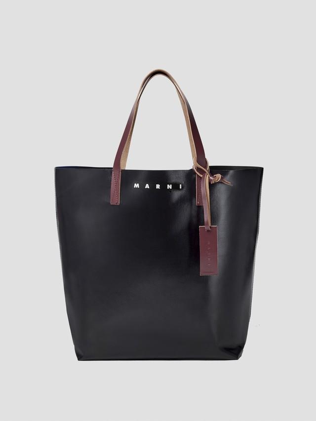 MARNI TRIBECA SHOPPING BAG BLACK BLACK EGGPLANT RED SHMQ0000A3P3572Z3O03