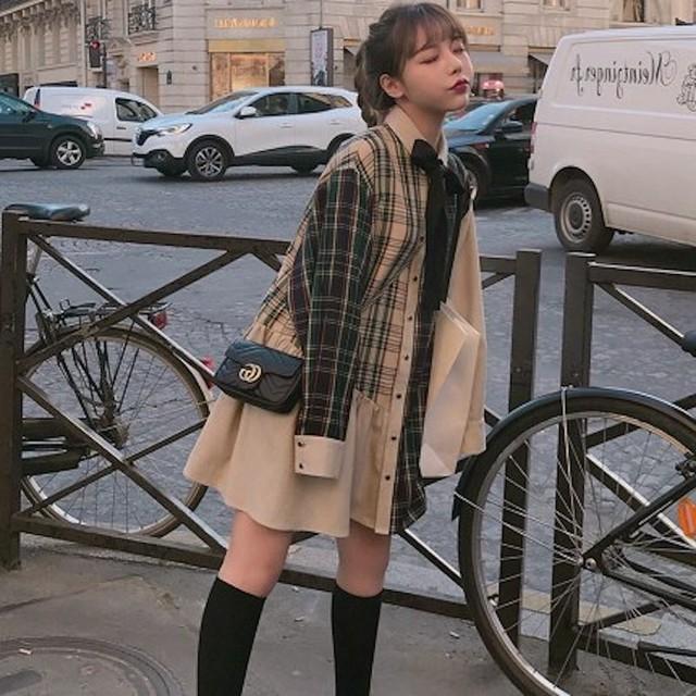 【送料無料】アシンメトリーチェックワンピ♡ガーリー リボン 学生 女っぽ デート 可愛い