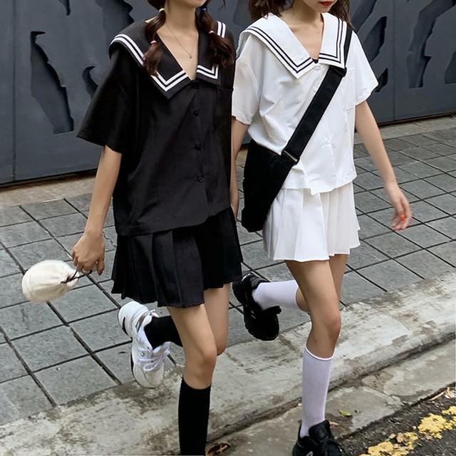 【送料無料】 スクールガール風セットアップ♡ セーラーカラー シャツ + ハイウエスト プリーツ ミニスカート 2点セット