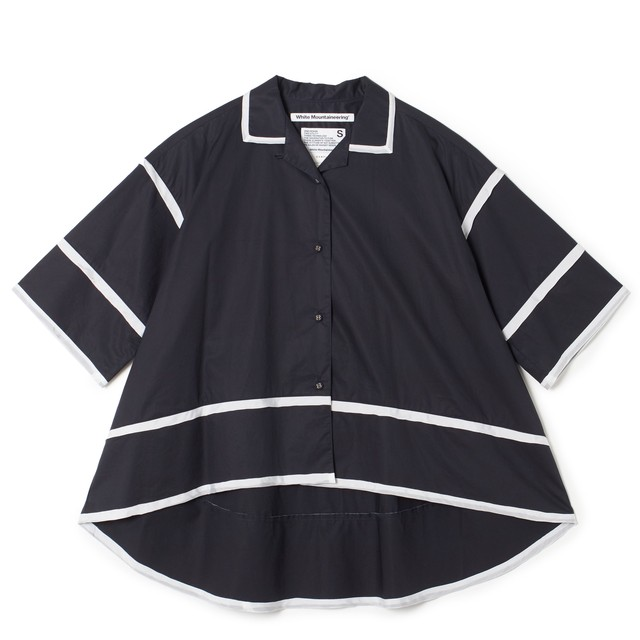 PIPING OPEN COLLAR SHIRT - NAVY