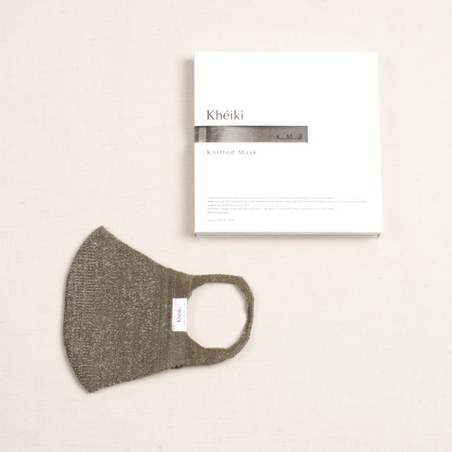 Knitted Mask 2pcs Set / KMK / Tussar Silk Filament / #Olive