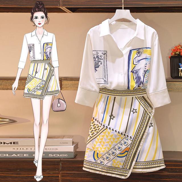 【セット】「単品注文」品質いいな新品!ファッション シングルブレスト 七分袖 シャツ+プリント 不規則 スカート33053453