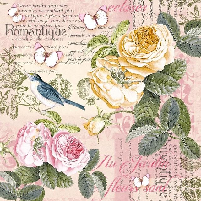 予約商品【Nouveau】バラ売り2枚 ランチサイズ ペーパーナプキン Romantique ピンク