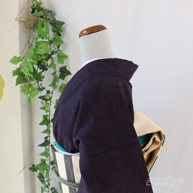 正絹紬 紫黒(しこく)の小紋 袷