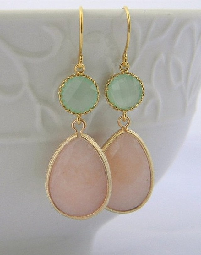 Peach and Mint Dangle pierced Earrings