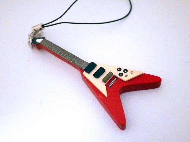 フライングV 木製楽器ストラップ