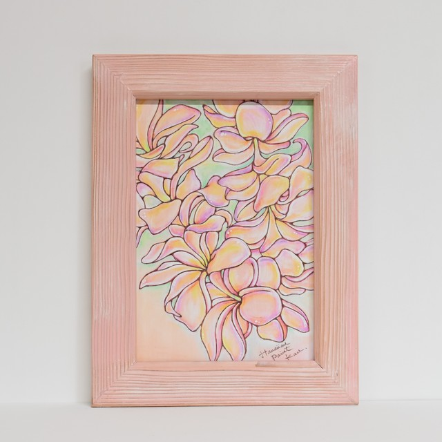 Wood print Art 【Plumeria Flower】