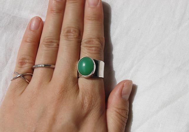 matte green stone ring