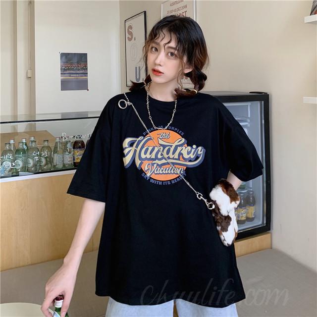 【トップス】韓国系半袖ラウンドネックプルオーバーTシャツ47372900