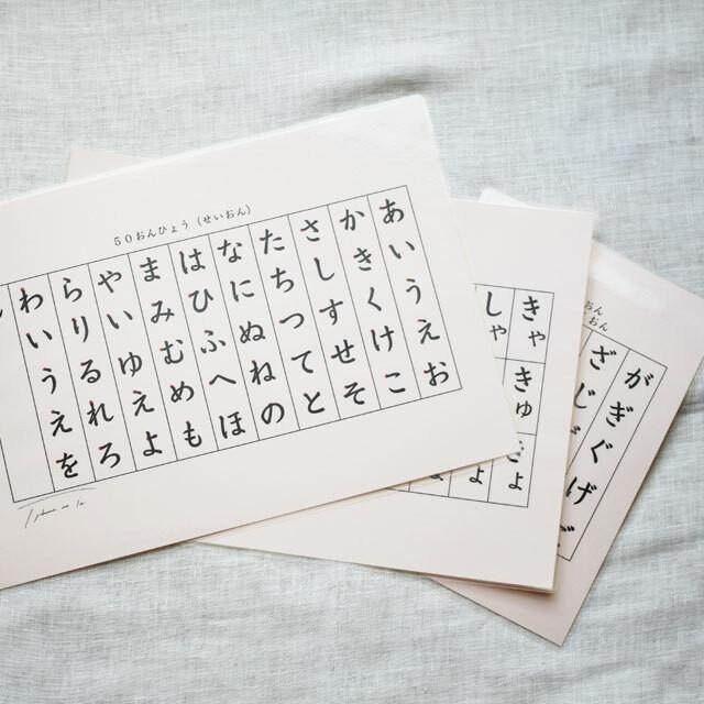 自分で学べる ひらがな・カタカナ50音シート3枚セット(清音・濁音・半濁音・拗音)