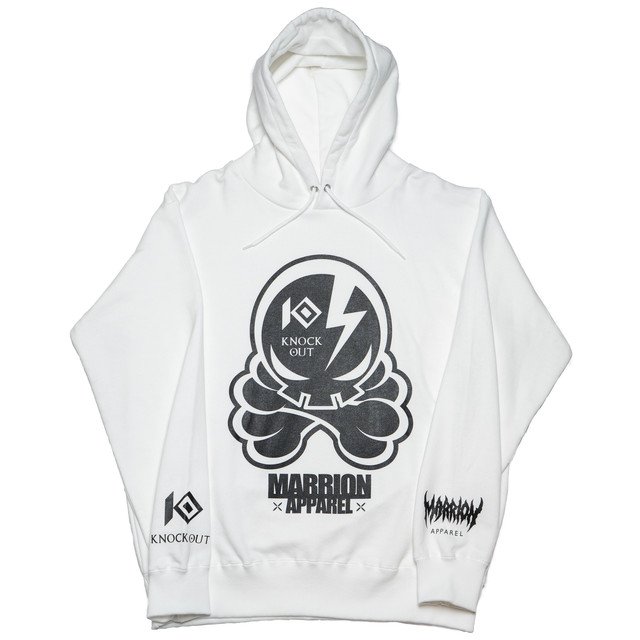 KNOCKOUT×MARRIONAPPAREL OCTOPUS SKULL  Hoodie (White×Black)