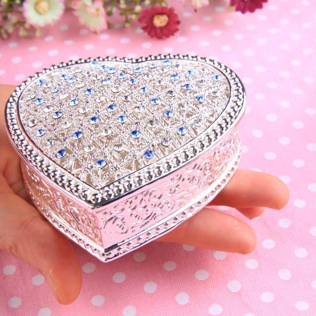 姫系雑貨  ハート型 可愛い 綺麗 キラキラ ジュエリーBOX ブルー|通販商 ☆