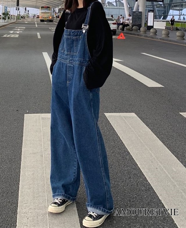 サロペット デニム  レトロ カジュアル ストリート ビッグポケット オルチャン 韓国ファッション 1077