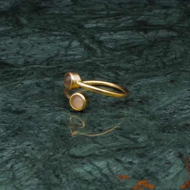 DOUBLE MINI STONE RING GOLD