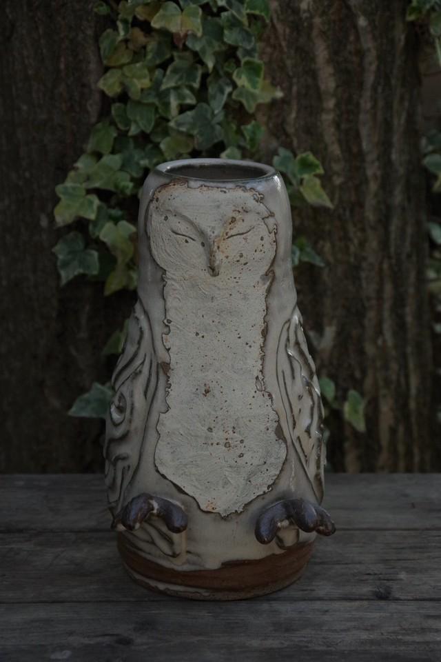 フクロウ花器①【須釜 美和】