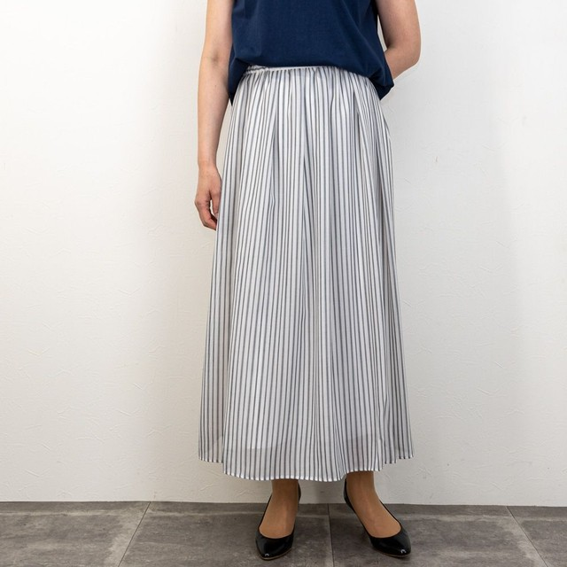 【dolly-sean/ドリーシーン】ランダムストライプロングスカート(ホワイト)