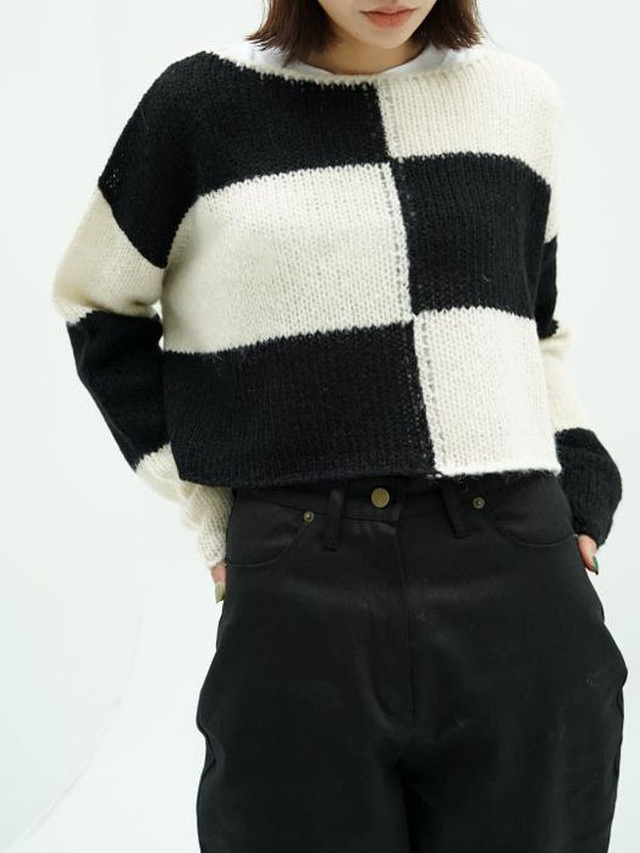 【WOMENS - 1 Size】CHECKER CROPPED KNIT / 3colors