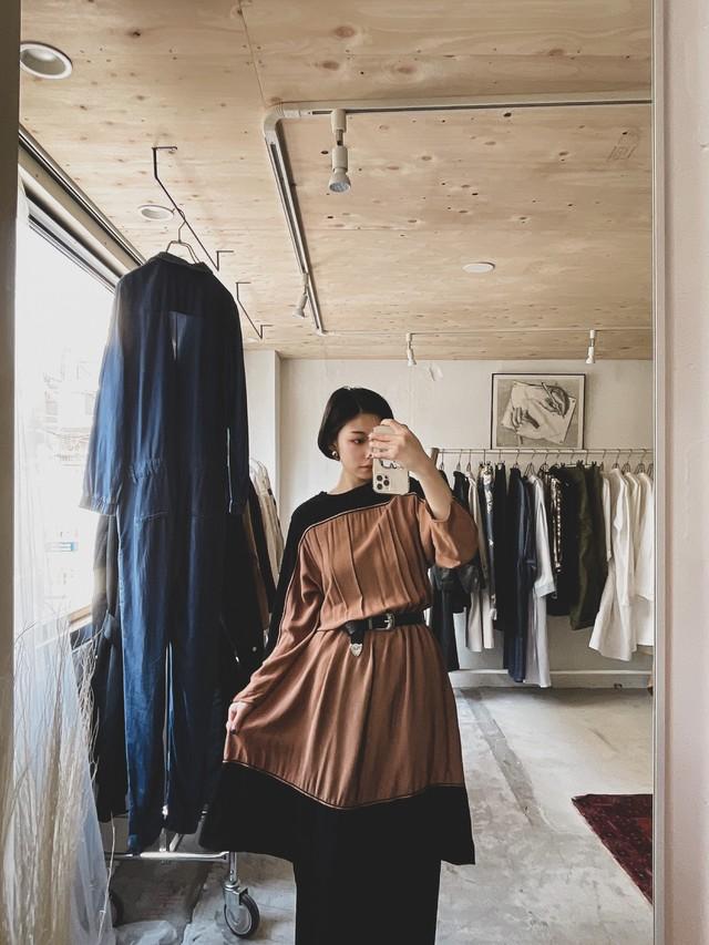 vintage bi-color dress - brown × black -
