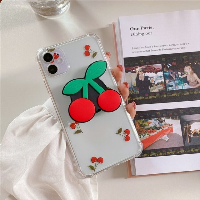 phoneケース ペア スマホケース 韓国 iphone11 ケース  かわいい チェリー グリップ