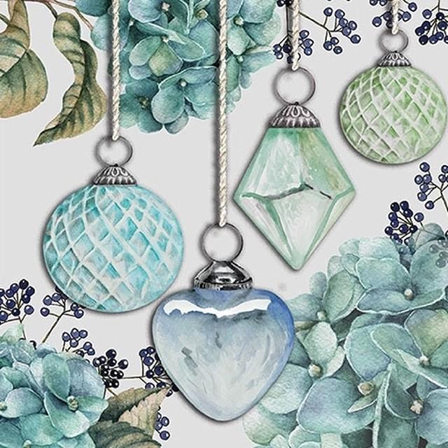 【Ambiente】バラ売り2枚 ランチサイズ ペーパーナプキン Hanging Baubles グリーン