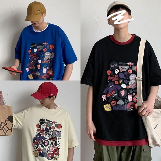 ユニセックス 半袖 Tシャツ メンズ レディース モンスター プリント オーバーサイズ 大きいサイズ ルーズ ストリート TBN-613691309841